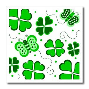 ht_77558_3 Janna Salak Designs St Patricks Day - Green and White Butterfly and Shamrock Design - Iron on Heat Transfers - 10x10 Iron on Heat Transfer for White Material