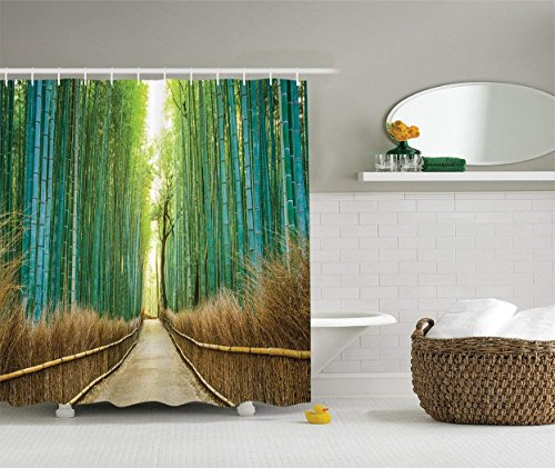 Bamboo Forest in Japan Collection, Panoramic View of Historic Landscape Park Photo Print, Polyester Fabric Bathroom Shower Curtain Set with Hooks,Light Green Peru 60W X 72L Inches Extra Wide