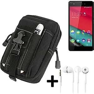 Bolsa del cinturón / funda para Wiko Pulp Fab 4G, negro + auriculares | compartimientos adicionales con el espacio para el banco de la energía, disco duro, etc. - K-S-Trade (TM)