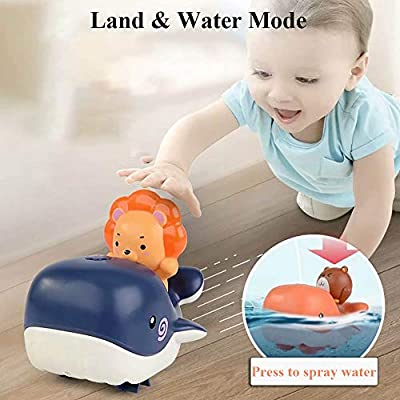 NEXTAKE Bath Toy for Kids, Windup Swimming Whale Water and Land Clockwork Toy Water Spary Boat Toy Bathtub Water Toy for Toddlers (Orange): Toys & Games