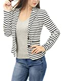 Allegra K Women Notched Lapel Button Closure Striped Blazer White M