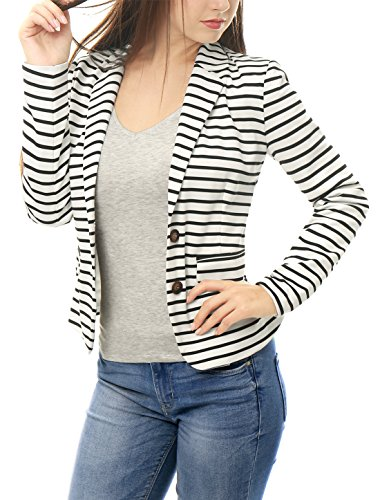 Allegra K Women Notched Lapel Button Closure Striped Blazer White (Button Closure Blazer)