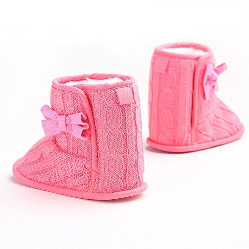 etrack-online infantil niñas forro polar lana pelo punto Bowknot nieve Botas blanco roto blanco Talla:12-18 mes hot pink