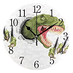 Wall Clock Green Dinosaur Silent Non Ticking Operated Round Easy to Read Home Office School Clock