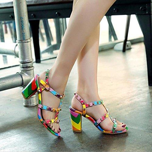 Tacones Mujer De Remaches Zapatos Charol Altos tEqS7S