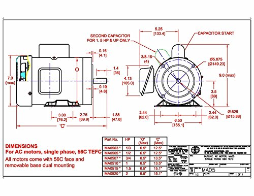 Hallmark Industries MA0510A AC Motor, 1 hp, 1725 RPM, 1PH/60 Hz, 115/208-230 VAC, 56C/TEFC, Cap Start with Foot, SF 1.15, Class F Insulation (Pack of 1) by Hallmark Industries (Image #6)
