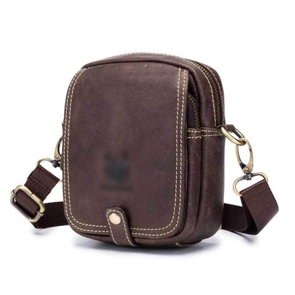 Gilibibe Messenger Sports Pockets Crossbody Bags for Men Leather Shoulder Bag Color : Brown