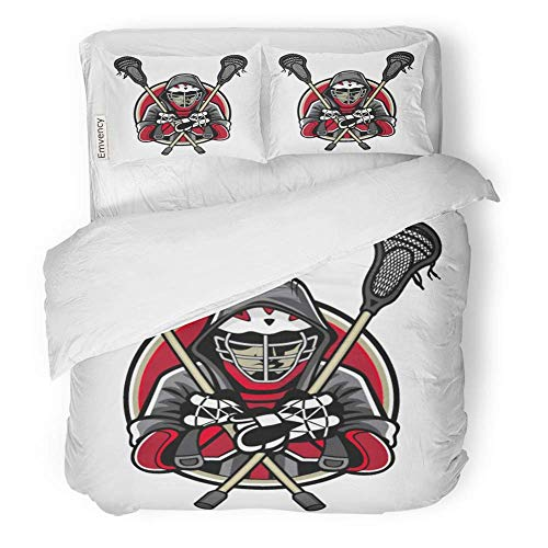 MIGAGA Decor Duvet Cover Set Full/Queen Size Lacrosse Players was Crossed Sticks and Hands in The Chest by Wearing Helmets 3 Piece Brushed Microfiber Fabric Print Bedding Set Cover