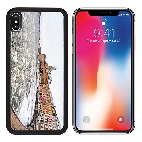 MSD Premium Apple iPhone X Aluminum Backplate Bumper Snap Case Nybrokajen at winter with old vintage ships at quay 2014 in Stockholm Sweden IMAGE (Sweden Ship)