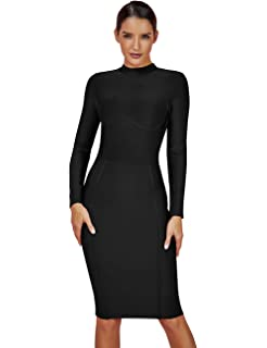 6560ca7ddc81 Whoinshop Women's Classic Long Sleeve Bandage Bodycon Outfit Elegant  Wedding Evening Party Knee Length Dresses