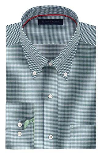 New Mens Dress (Tommy Hilfiger Men's Non Iron Regular Fit Gingham Buttondown Collar Dress Shirt, New Navy, 16