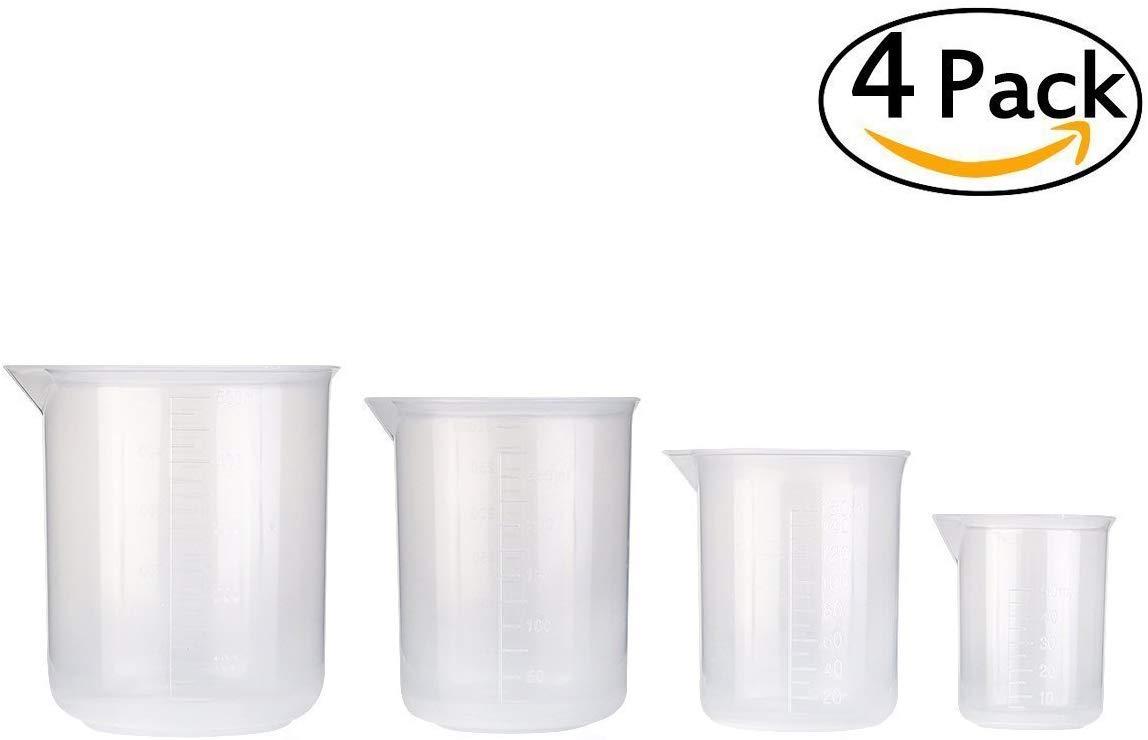 Lot de 4 B/écher en Plastique Becher de Mesure Plastique gradu/é gobelets Transparente des Outils de Mesure 50 ML 500 ML pour Cuisine 250 ML 150 ML Laboratoire