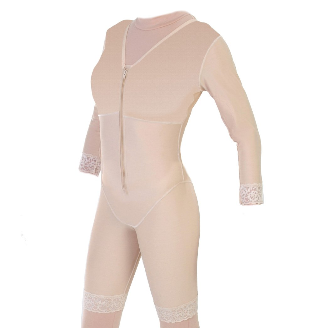 Post Surgical Mid Thigh Compression Body Shaper with Sleeves | ContourMD : Style 27S - Medium - Beige