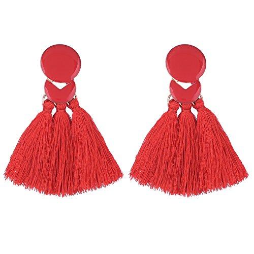 D EXCEED Statement Thread Tassel Earrings Fashion Chandelier Tassel Earrings Epoxy Fringe Earrings for Women Red
