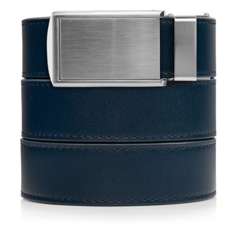 SlideBelts Men's Ratchet Belt - Custom Fit (One Size, Navy Leather with Silver Buckle (Vegan))