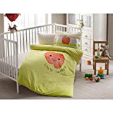 LaModaHome 4 Pcs Luxury Soft Colored Licensed Baby Quilt Cover Set 100% Cotton Light Green Red Apple Little Sweetie Smiling Kids Baby Bed with Flat Sheet