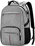 Large Travel Backpack,TSA Durable Slim School College Student Laptop Backpack with USB Charging&Headphones Hole for Men&Women,Water-Resistant Business Computer Bag for 17 Inch Laptop/Notebook-(Grey)