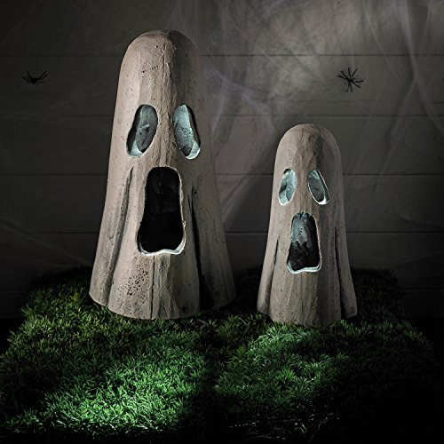 Set of 2 White LED Battery Operated Halloween Light Up Ghosts (Light Up Ghost String Prop)