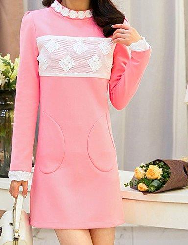 PU&PU Robe Aux femmes Trapèze Vintage / Décontracté , Couleur Pleine Col Arrondi Au dessus du genou Polyester , yellow-2xl , yellow-2xl