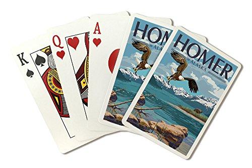 Homer, Alaska - Lake Scene - Bald Eagle and Bear (Playing Card Deck - 52 Card Poker Size with Jokers) by Lantern Press