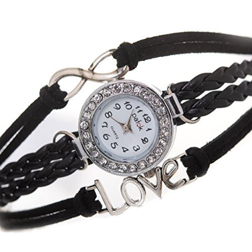 Women's Black Braided Leather Strap Watch - 4