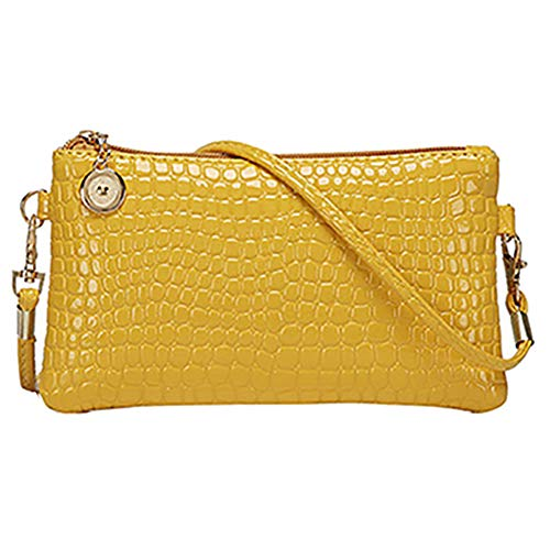 (gLoaSublim Women Fashion Shoulder Bag Tote Messenger Faux Leather Zipper Satchel Handbag Yellow)