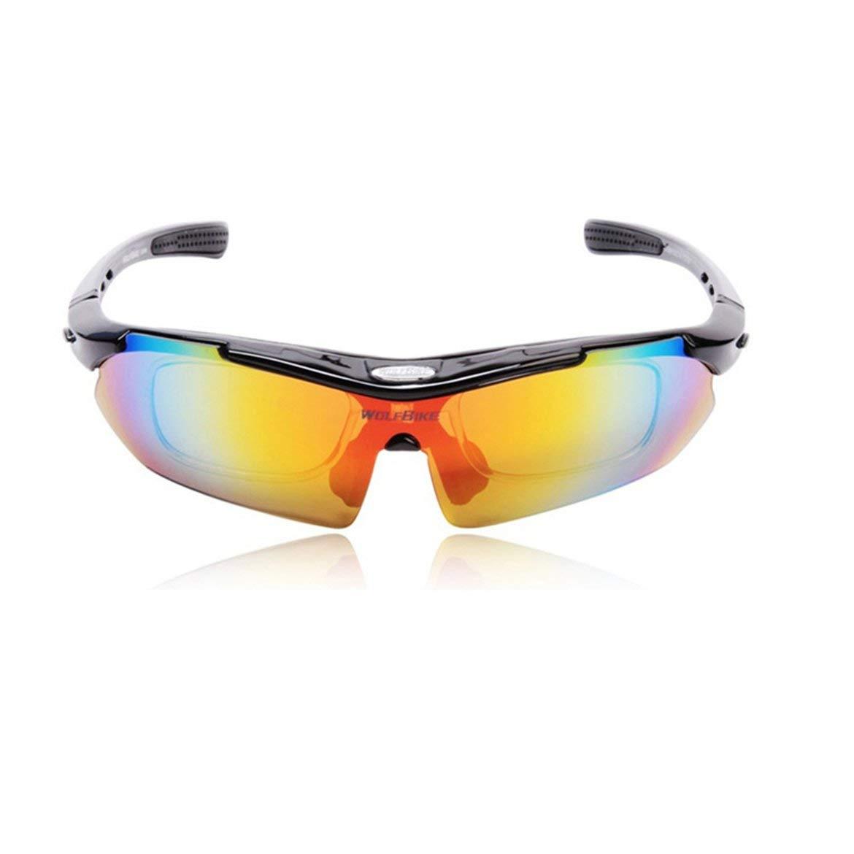 JohnJohnsen Montando Gafas polarizadas Gafas de Sol al Aire Libre Gafas Deportivas (Negro)