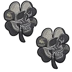 2PCS Small Realistic Cracked Skeleton Skull within Irish Four Leaf Clover Tactical Patch Embroidered DIY Patches Applique Hook and Loop Backing for Backpacks Jackets Jeans Clothes-2.56 x 3.15 inches.
