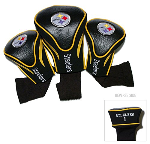(Team Golf Pittsburgh Steelers Golf Club 3 Piece Contour Headcover Set)