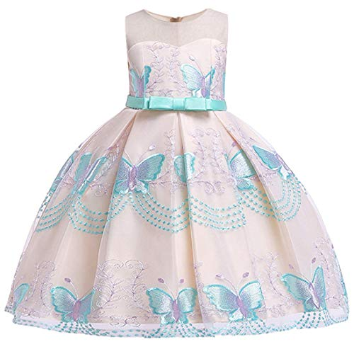 Sun Dresses for Girls Size 5 Casual Santa Easter Pageant Party Dress 5 Years Old Green O Neck Sundress for Girls Wedding Holiday Summer Dressy Pretty Dress Floral Prom Ball Gowns (Green 120) -
