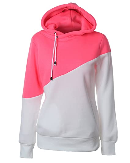 Mujer Manga Larga Capucha Suéter Sudaderas con Capucha Pullover Capa Contraste Color Hoodies Outwear Pink Blanco