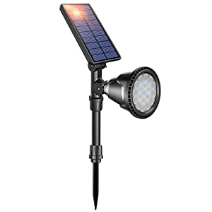 DBF Solar Lights Upgraded, 18 LED Waterproof Solar Spotlight Outdoor Ground Stake Light(Cool White), Auto On/Off, Easy-to-Install Bright for Lighted Flag Pole Street Sign Garden Yard