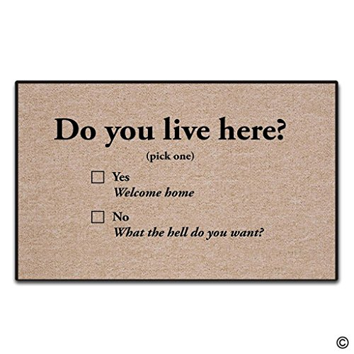 [Artswow Entrance Floor Mat - Funny Doormat - Do You Live Here Non-slip Door Mat 18 Inch by 30 Inch Machine Washable Non-woven Fabric Top] (Live Here Door Mat)