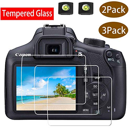 Rebel T6 Screen Protector Appliable for Canon EOS Rebel T6 Camera & Hot Shoe Cover, [2+3Pack] ULBTER 0.3mm 9H Hardness Tempered Glass Flim Anti-Scrach Anti-Fingerprint Anti-Bubble Anti-Water