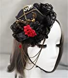 Steampunk Vintage Gears Red and black roses Chain Mini Top Hat Handmade Gothic Hats for Girls Party Halloween Hair Accessories
