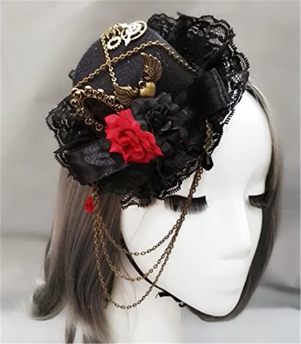 (Steampunk Vintage Gears Red and black roses Chain Mini Top Hat Handmade Gothic Hats for Girls Party Halloween Hair Accessories)