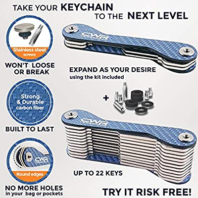 Compact Smart Key Holder Organizer - UP to 22 Keys for House, Mailbox, Locks - Carbon Fiber Key Organizer Keychain -Easy Assembly -with Fob Car Loop, SIM & Bottle Opener, Carabiner, Coin Holder (Blue): Office Products