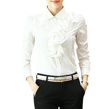 2a875686504 Women s Vintage Victoria Ruffle Long Sleeve Shirt Blouse at Amazon ...