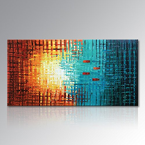 Seekland Art Hand Painted Framed Large Textured Oil Painting Abstract Canvas Wall Art Modern Picture Stretched Contemporary Decor Artwork for Bedroom Living Room Framed Ready to Hang (60''W x 30''H) by Seekland Art