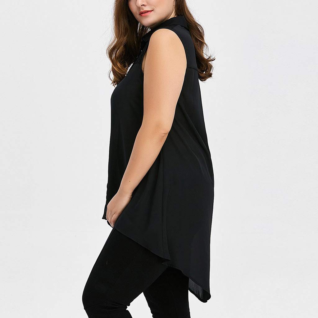 Tank Tops for Women I Wont Quit, Women Tops Casual,Women Vest Fashion Plus Size Lace High Low Tops Asymmetric Sleeveless T-Shirt Black by Makeupstory (Image #4)
