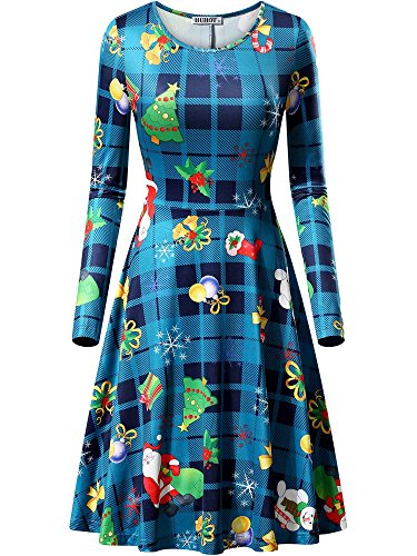 HUHOT Christmas Dresses, Rudolph Gift Bells Present Print