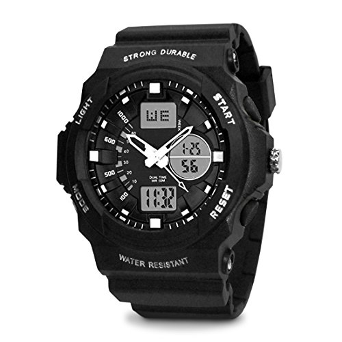 TOPCABIN Swim Chronograph-50m Waterproof Digital-analog Children Sport Watch with Alarm Stopwatch White