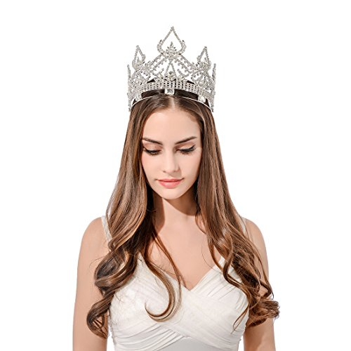 DcZeRong Women Crowns Queen Crowns For Women Prom Pageant Party Rhinestone Crystal Full Crowns by DcZeRong (Image #6)