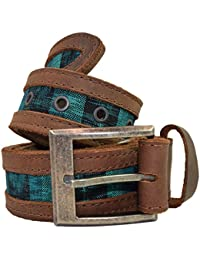 Men's Two Row Stitch Thick Leather with Típico Accents Belt Handmade by Hide & Drink :: Tropical Lime