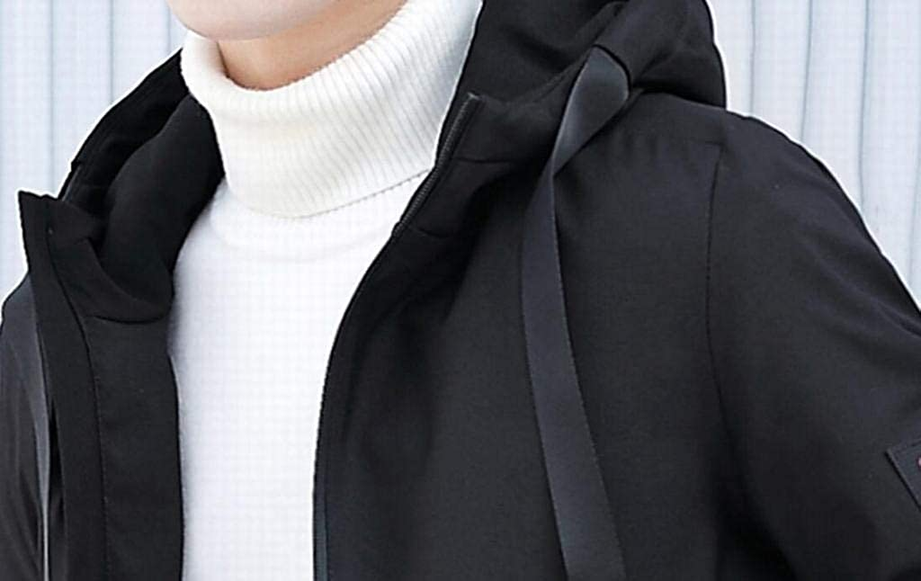 Jotebriyo Mens with Velvet Regular Fit Hooded Winter Coat Jacket Thicken Mid Length Down Coat