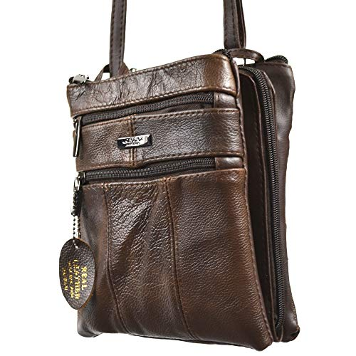 Compartments Tan Red with Navy Beige Fawn Shoulder Zipped Bag Brown Brown Dark Body Separate Cross Three Ladies Bag Black Burgundy Leather qgHvwxT