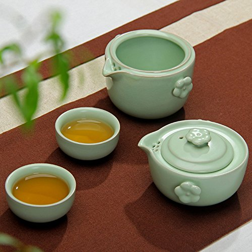 XDOBO Set of 4 Classic Chinese Ru Ceramic Two-person Tea Sets – One Teapot, One Tea Bowl & Two Tea Cups (Set Person Tea One)