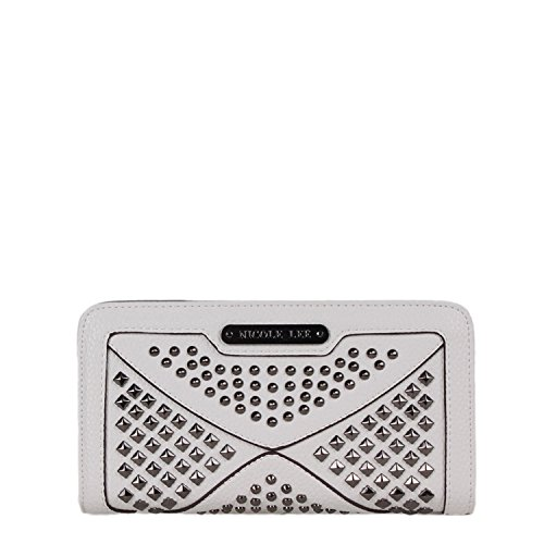 Studded Bi-Fold Wristlet Wallet[White]