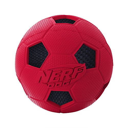 Nerf Dog Soccer Crunch Ball, Red, Small