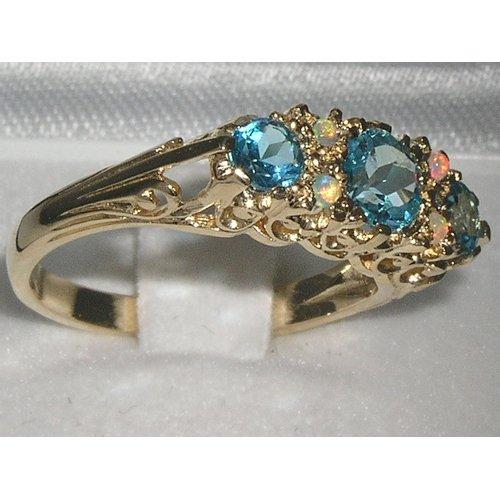 Bague Amour Éternel de Haute Qualité Or Massif avec Topazes Bleues & Opales Véritables - Style Victorien -Tailles 50 à 64